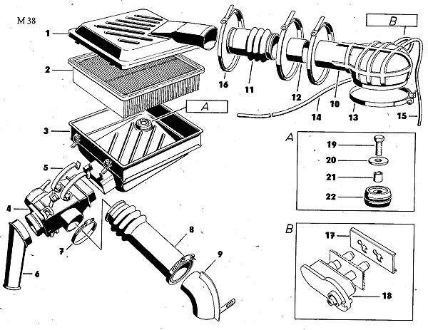 Luftreglerkasten vor dem Luftfilterkasten Trabant 1.1 original