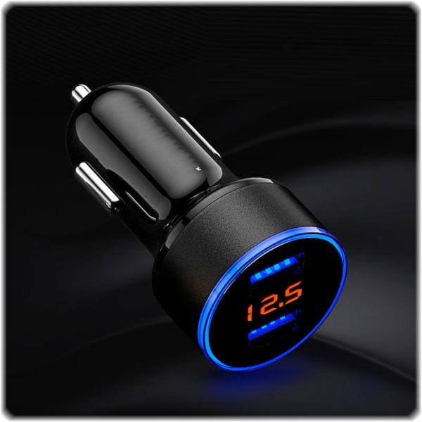 USB Auto-Ladestecker mit Batteriespannungsanzeige