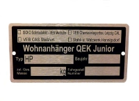 Typenschild für Qek Junior mit persönlichen Daten