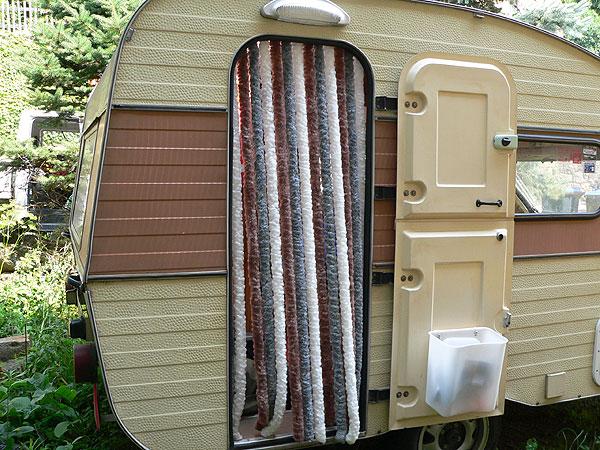 Flauschvorhang für Wohnwagentür Qek, Bastei, Intercamp etc. blau-grau-weiß