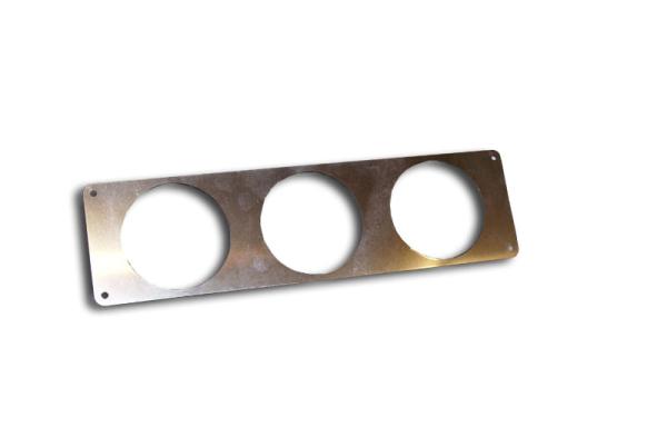 Edelstahlblech poliert 59 x 220 mm für 3 Zusatzinstrumente 52 mm