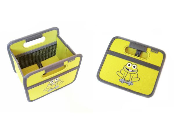 Faltbox mini, Kiwi grün mit Aufdruck Frosch